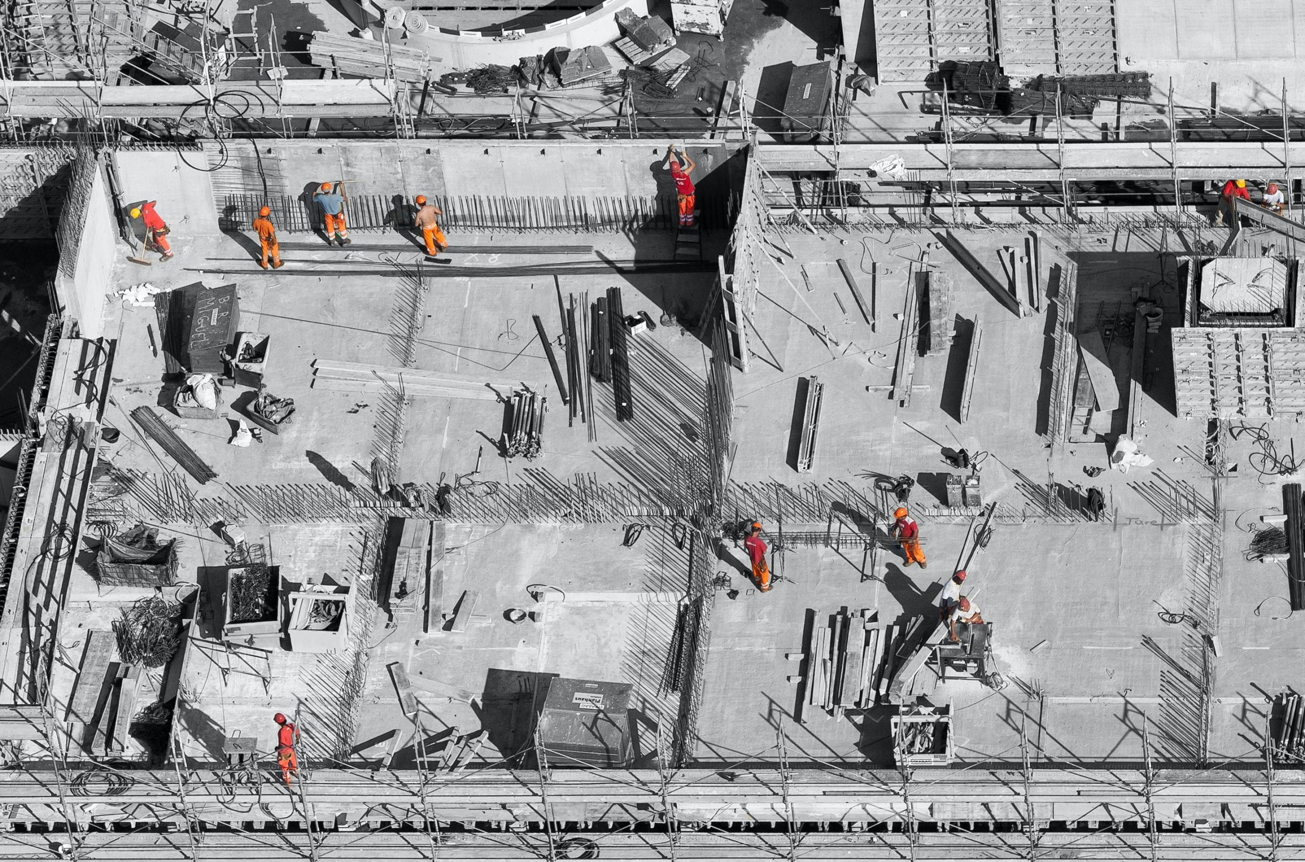 PJ Personnel Recruitment Agency stock image of a construction site from the air.